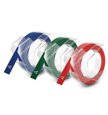 DYMO Lot de 3 rubans Noir, Bleu, rouge 9 mm x 3 m - S0847750