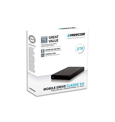 """FREECOM Disque dur 2,5"""" USB 3.0 Mobile Drive Classic 2To 56297 + redevance"""