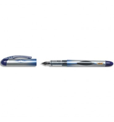 BIC Stylo plume jetable all in one bleu, pointe moyenne