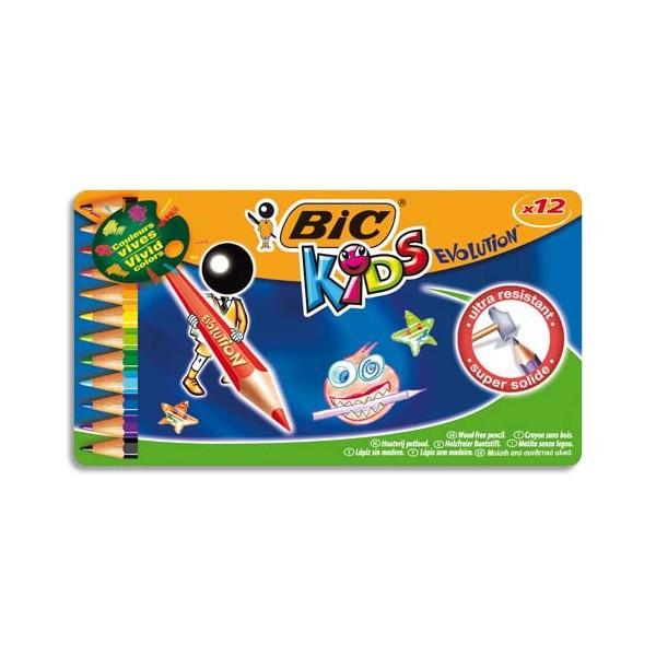 BIC KIDS Boîte métal de 12 crayons de couleur EVOLUTION. Longueur 17,5 cm. Coloris assortis (photo)