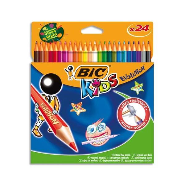 BIC KIDS Etui carton 24 crayons de couleur EVOLUTION. Longueur 17,5 cm. Coloris assortis (photo)