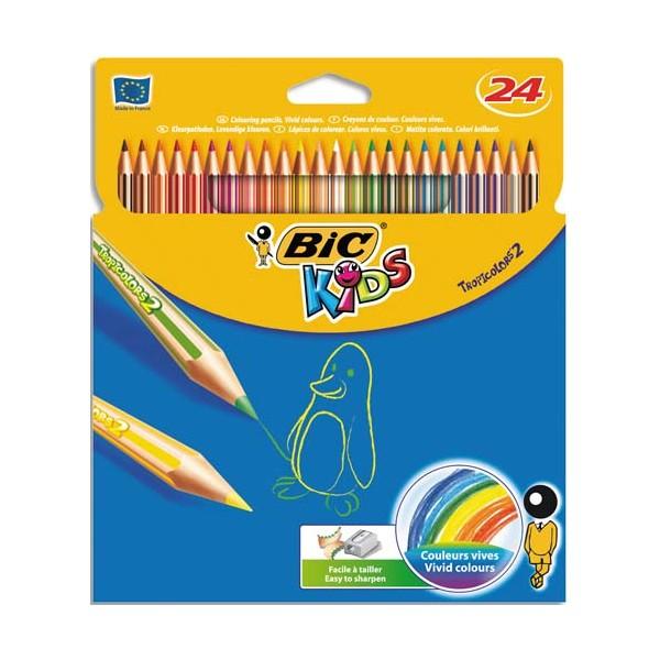 BIC KIDS Etui 24 crayons de couleur TROPICOLOR2 (version sans bois). Coloris assortis (photo)