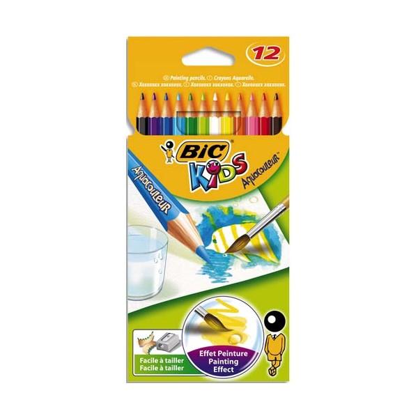 BIC KIDS Pochette 12 crayons de couleur aquarellable AQUACOULEUR. Corps 17,5 cm. Coloris assortis (photo)