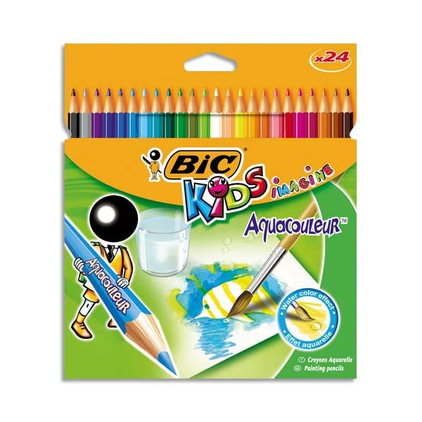 BIC KIDS Pochette 24 crayons de couleur aquarellable AQUACOULEUR. Corps 17,5 cm. Coloris assortis (photo)
