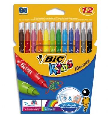 BIC KIDS Pochette 12 feutres de coloriage KID COULEUR. Pointe moyenne. Coloris assortis