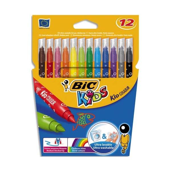 BIC KIDS Pochette 12 feutres de coloriage KID COULEUR. Pointe moyenne. Coloris assortis (photo)