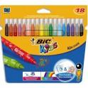 BIC KIDS Pochette 18 feutres de coloriage KID COULEUR. Pointe moyenne. Coloris assortis