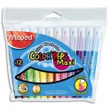MAPED Pochette 12 feutres de coloriage COLOR'PEPS. Pointe extra large. Coloris assortis