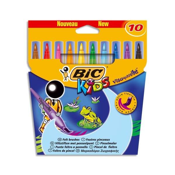 BIC KIDS Pochette 10 feutres à dessin pointe pinceau encre lavable CONTE VISAQUARELLE (photo)