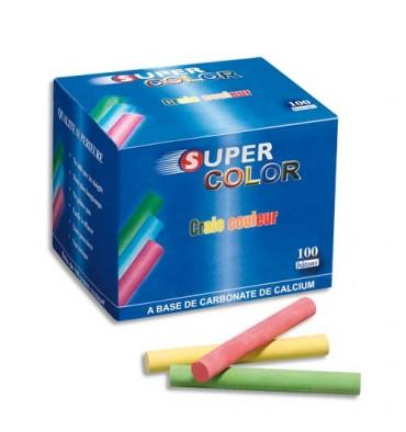 JPC Boîte de 100 craies anti-poussières coloris assortis