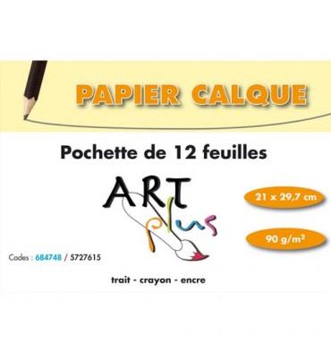 ART PLUS BY ARTLINE Pochette de 12 feuilles papier calque 90g format A4