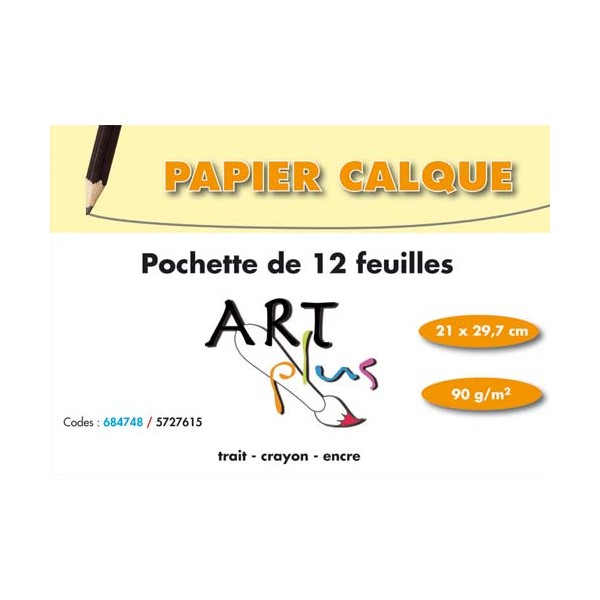 ART PLUS BY ARTLINE Pochette de 12 feuilles papier calque 90g format A4 (photo)