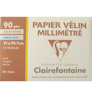 CLAIREFONTAINE Pochette de 12 feuilles 90g papier millimétré