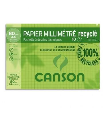 CANSON Pochette de 10 feuilles de papier millimétré recyclé - format 21 x 29,7cm - 80g