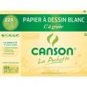 CANSON Pochette de 12 feuilles de papier dessin C A GRAIN 224g 24 x 32 cm