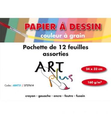 ARTPLUS BY ARTLINE Pochette de 12 feuilles dessin couleurs assorties 160g format 24 x 32 cm