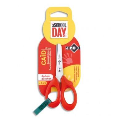 JPC Blister ciseaux CAID gaucher 13 cm pour enfant lame inox, bouts arrondis et gachette anti-glisse