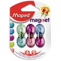 MAPED Blister 6 aimants ronds, diamètre 13 mm. Force magnétique 800g. Coloris assortis translucide