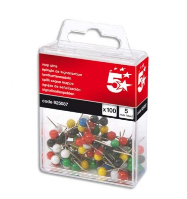 5 ETOILES Boîte de 100 épingles de signalisation tête boule coloris assortis