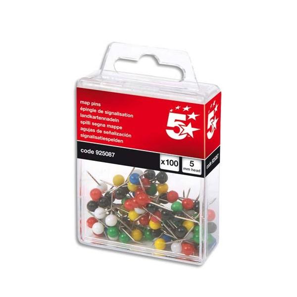5 ETOILES Boîte de 100 épingles de signalisation tête boule coloris assortis (photo)