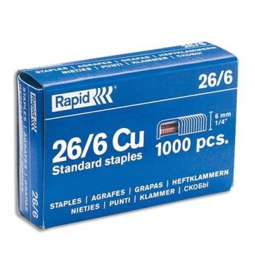 RAPID Agrafes Nº26/6 galvanisées en boîte de 1000