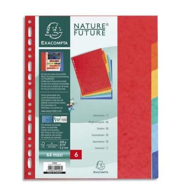 EXACOMPTA Jeu d'intercalaires 6 positions format 24 x 30 cm pour pochettes perforées. Carte lustrée 3/10e.
