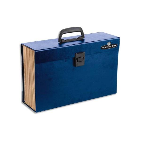 BANKERS BOX Trieur mallette 19 compartiments, structure carton, poignée de transport, fermoir plastique, bleu (photo)
