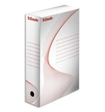 ESSELTE Boîtes à archives, dos de 8 cm, en carton ondulé kraft blanc, conditionnement en caisse carton