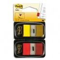 POST-IT Blister de 2 cartes de 50 index marque pages 2,54 x 4,4 cm rouge et jaune