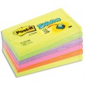 POST-IT Lot de 6 Recharges Z-notes 100 feuilles 7,6 x 12,7 cm coloris néon assortis
