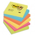 POST-IT Lot de 6 blocs repositionnables coloris énergique dimensions 76x76 mm