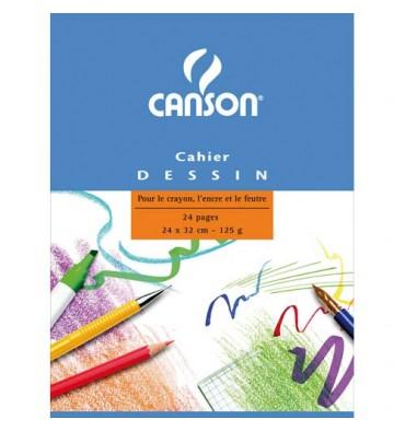 CANSON Cahier de dessin piqûre 24 pages unies blanches 24 x 32 cm. Couverture carte
