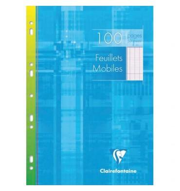 CLAIREFONTAINE Feuillets mobiles 21 x 29,7 cm 100 pages grands carreaux blancs 90g - Sous étuis carton