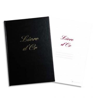 ELVE Livre d'Or format 210 x 160 mm Noir 148 pages. Couverture aspect cuir