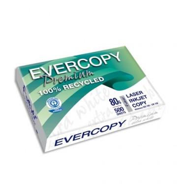 CLAIREFONTAINE Ramette de 500 feuilles A4 80g, papier 100% recyclé blanc Evercopy Premium CIE 150