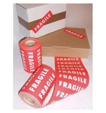 Rouleau de 1000 Etiquettes imprimées FRAGILE blanc fond rouge - Format 150 x 42,5 mm