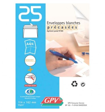 GPV Paquet de 25 enveloppes auto-adhésives 90 grammes format 110 x 220 mm DL