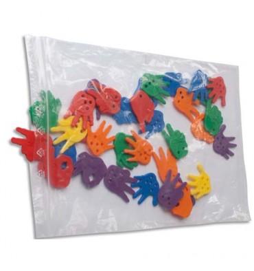 EMBALLAGE Paquet de 100 sacs, fermeture rapide en polyéthylène 50 µm - format 12 x 18 cm transparent