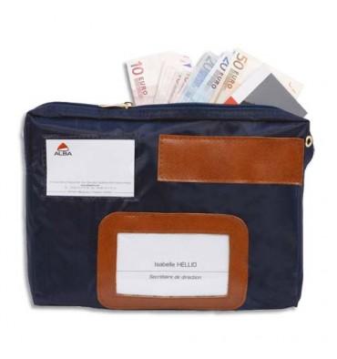 ALBA Pochette navette de caisse bleue en PVC à soufflet dimensions : 27 x 18,5 x 4 cm