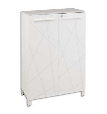 GAUTIER Rangement mi-hauteur blanc, 2 portes BLANC Graph, étagères réglables, serrure, SUNDAY 80x114x40cm