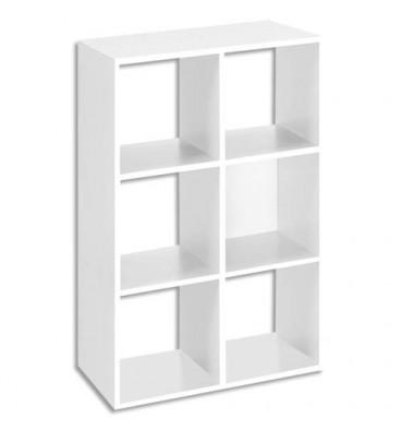MT INTERNATIONAL Bibliothèque multi-cases 6 cases MT1 élégance coloris blanc - L73 x H107 x P33 cm