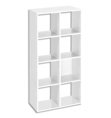 MT INTERNATIONAL Bibliothèque multi-cases 8 cases MT1 élégance coloris blanc - L73 x H142,5 x P33 cm