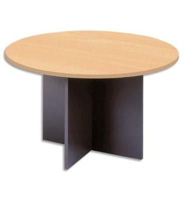 MT INTERNATIONAL Table ronde de réunion diamètre 126 cm piètements panneaux en croix