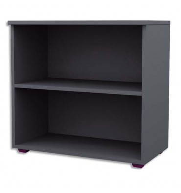 MT INTERNATIONAL Bibliothèque basse Confort anthracite - Dimensions : L80 x H75 x P43cm