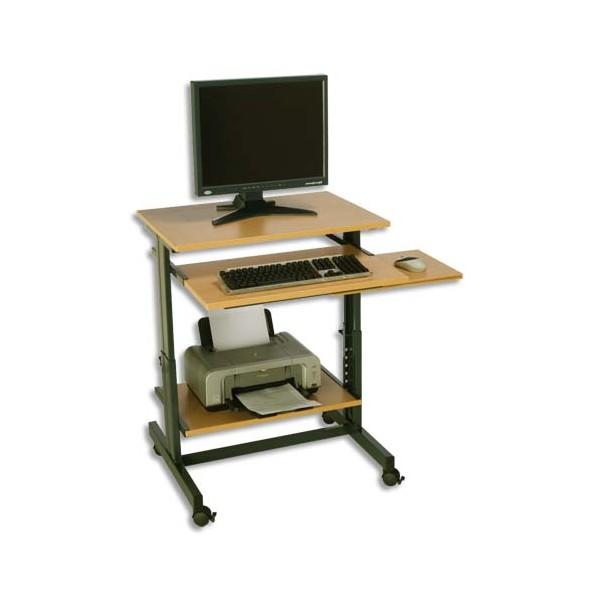 SODEMATUB Poste informatique compact réglable en hauteur dimensions 70x50 cm colori hêtre anthracite