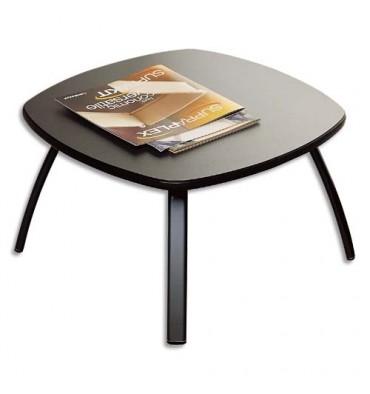 table basse carr e noire en bois plateau gris anthracite. Black Bedroom Furniture Sets. Home Design Ideas