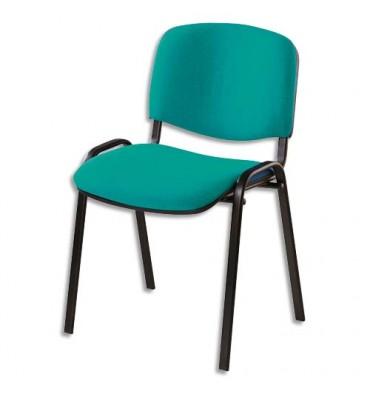 Chaise de conférence Iso Classic en tissu polyfibre vert, structure 4 pieds en métal époxy noir
