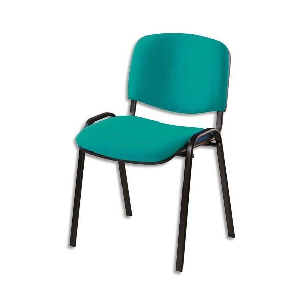 chaise de conf rence iso en tissu polyfibre vert 4 pieds en m tal poxy noir. Black Bedroom Furniture Sets. Home Design Ideas
