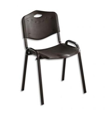Chaise collectivité Iso Plast assise et dossier en polypropylène noir, structure en métal époxy noir