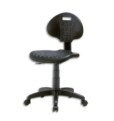 Chaise technique noire en polyuréthane hauteur standard avec repose-pieds sur roulettes